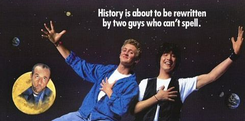 Bill and ted's excellent adventure movie poster header alex winter keanu reeves