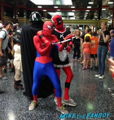 Spidey and Deadpool Tardis cosplay wizardworld comic con 2013 rare promo cosplay 2013