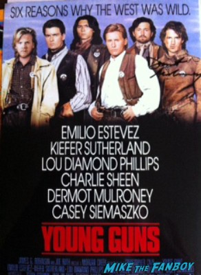 Young Guns signed autograph mini movie poster rare Dermot Mulroney signing autographs for fans jobs movie premiere la live rare hot