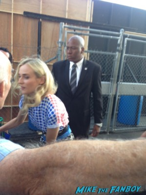 Diane Kruger signing autographs for fans at jimmy kimmel live