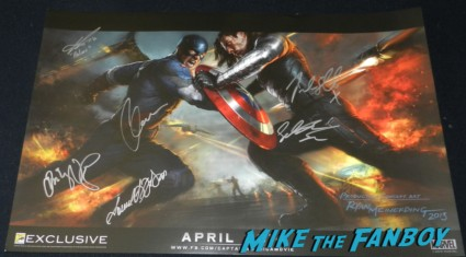 captain america the winter soldier signed concept art poster chris evans emily van decamp san diego comic con 2013 signing autographs day 1 225