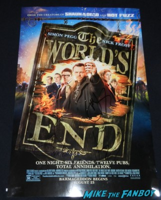 The World's End signed autograph movie poster simon pegg nick frost edgar wright poster the world's end movie premiere simon pegg signing autographs 067