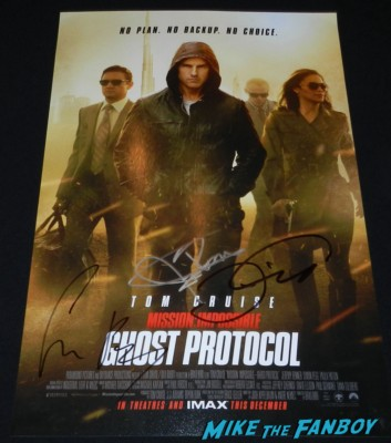 Simon Pegg Tom Cruise Jeremy Renner signed autograph mission impossible ghost protocol mini movie poster
