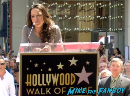 michelle rodriguez giving her speech vin diesel walk of fame star ceremony signing autographs jordana brewster