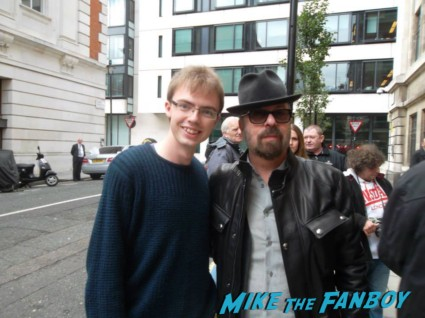 Dave Stewart eurythmics signing autographs for fans rare fan photo