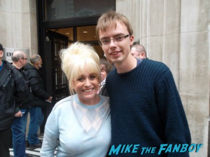 Eastenders actress Barbara Windsor signing autographs for fans bbc radio