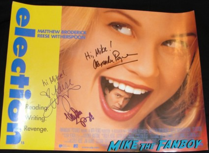 election signed autograph uk quad mini poster rare promo reese witherspoon matthew broderick