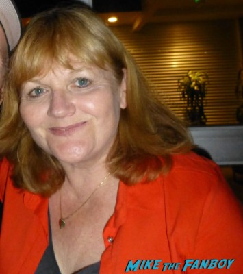 Lesley Nicol signing autographs for fans in person rare signing autograph downton abbey Lesley Nicol who plays Mrs. Patmore
