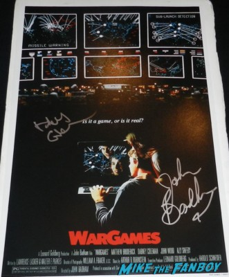 wargames signed autograph mini movie poster john badham dabney coleman signing autographs for fans 2013 wargames 008