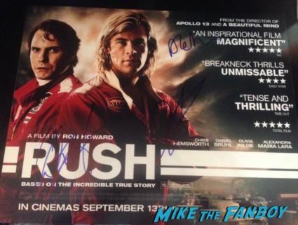 Chris hemsworth Daniel Bruhl signed autograph rare promo uk quad poster