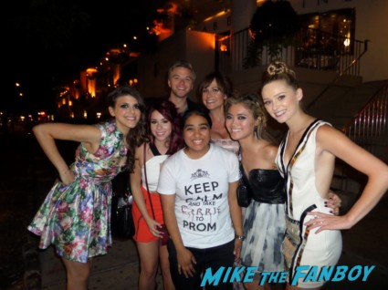 The CAst of Awkward posing for a group photo with elisa from mike the fanboy