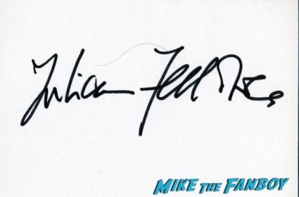 Julian Fellowes tom hanks signing autographs Tom hanks signed autograph card rare London film festival captain phillips red carpet