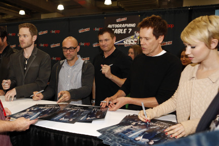 THE FOLLOWING's Connie Nielsen, James Purefoy, Shawn Ashmore, Executive Producer Marcos Siega, Creator and Executive Producer Kevin Williamson, Kevin Bacon and Valorie Curry greet fans and sign autographs at the New York Comic Con
