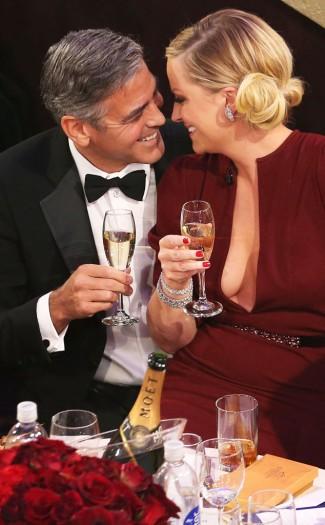 george Clooney Amy Poehler rare photo golden globe awards