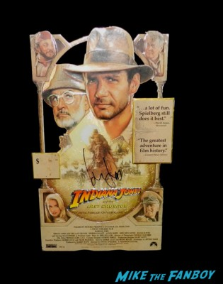 Harrison ford signed autograph indiana jones and the last crusade foil counter standee signing autographs and greeting fans tonight show 017