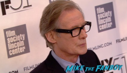 Bill Nighy on the red carpet at the about time new york film festival premiere richard curtis bill nighy