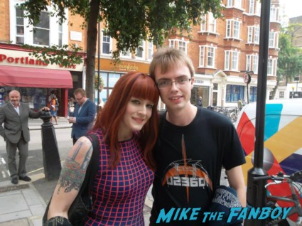 Ana Matronic of the Scissor Sisters signing autographs for fans