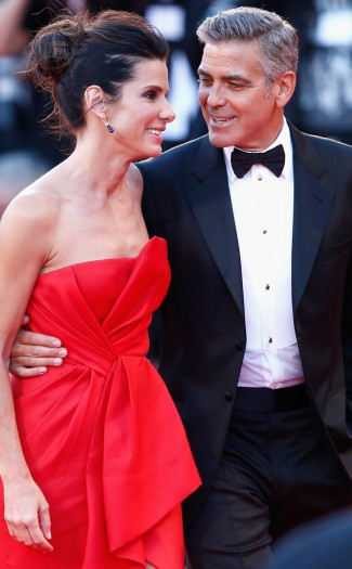 george clooney sandra bullock red carpet gravity photo rare