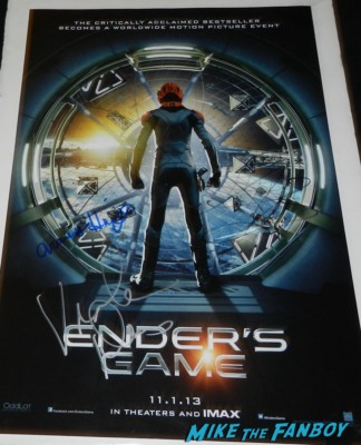 ender's game signed autograph movie poster rare movie premiere debacle red carpet harrison ford 093