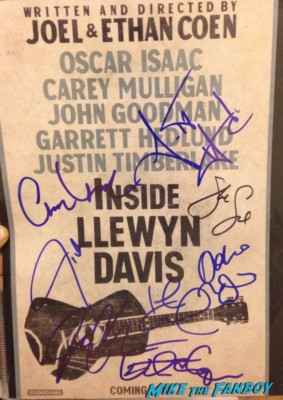 Inside Llewyn Davis  signed autograph movie poster justin timberlake mpvie poster one sheet inside llewyn davis movie premiere