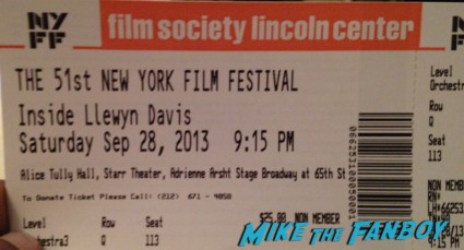 nyff film society lincoln center ticket Garrett Hedlund inside llewyn davis movie premiere signing autographs rare