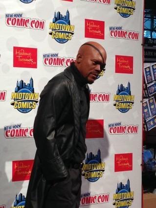 Madame Tussauds nick fury wax statue unveiling samuel l jackson new york comic con