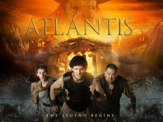 Atlantis poster Picture Shows: (L-R) Pythagoras (ROBERT EMMS), Jason (JACK DONNELLY) and Hercules (MARK ADDY)  - © Urban Myth Films