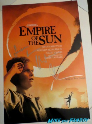 christian bale signed autograph empire of the sun mini poster rare Christian Bale signing autographs for fans hot rare