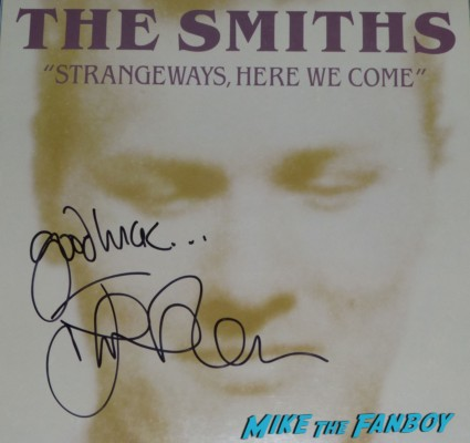 Smiths Strange Smirhs Best the queen is dead johnny marr signed autograph lp guitar pic Johnny Marr signing autographs for fans the smiths
