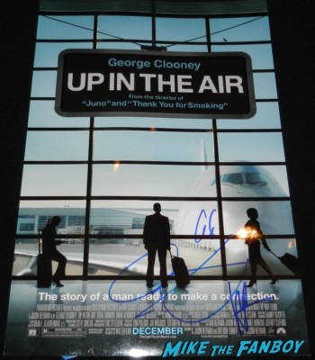 up in the air mini poster signed by george clooney vera farmiga anna kendrick
