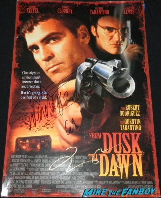 from dusk till dawn signed poster george clooney juliette lewis quentin tarrentino salma hayek
