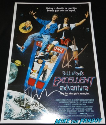 keanu reeves alex winter signed autograph bill and ted's excellent adventure poster alex winter signing autographs for fans silent movie theater 005