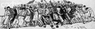 Cartoon Of Crowd Pushing And Shoving