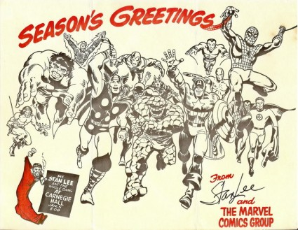 Marvel christmas Card 711 1980s rare the avengers 1980s christmas comic book cover