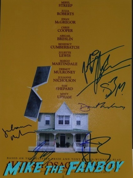 august osage county movie poster signed autograph ewan mcgregor august osage county los angeles premiere julia roberts3