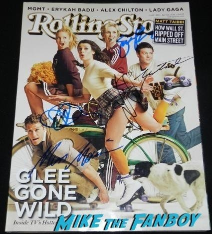 glee rolling stone cover signed autograph jane lynch lea michelle corey monteith matthew morrison diana agron