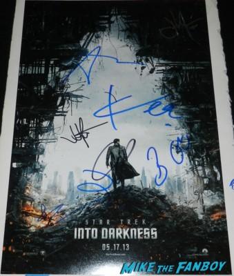 star trek into darkness signed autograph mini poster chris pine zoe saldana benedict cumberbatch