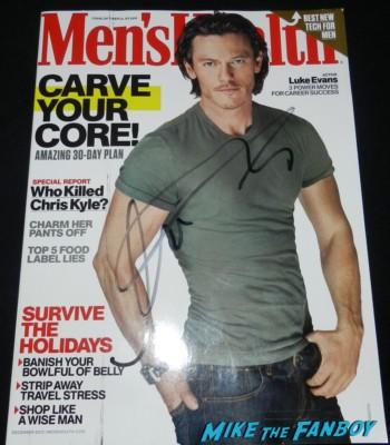 luke evans signed autograph Men's Health magazine cover the hobbit smaug movie premiere los angeles signing autographs 046