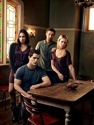 BEING HUMAN -- Season:4 -- Pictured: (l-r) Meaghan Rath as Sally Malik, Sam Witwer as Aidan Waite, Sam Huntington as Josh Levison, Kristen Hanger as Nora Sergeant -- (Photo by: Art Streiber/Syfy)