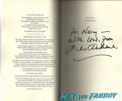 Julie Andrews signed autograph book