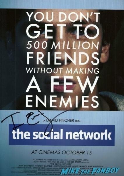jessie eisenburg signed autograph social network poster rare