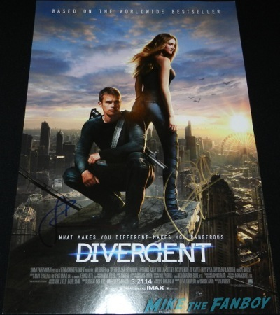 theo james signed autograph individual mini poster Divergent cast theo james Shailene Woodley jimmy kimmel live 201414