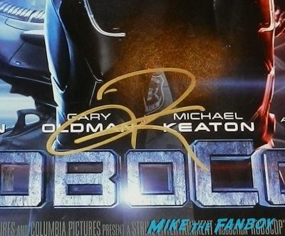 Joel Kinnaman signed autograph robocop mini poster signing autographs jimmy kimmel