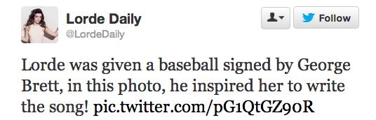lorde tweet signed baseball
