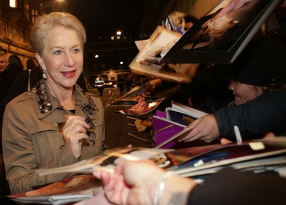 Helen Mirren signing autographs for fans BAFTA pre award show party