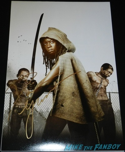 Danai Gurira signed autograph the walking dead mini poster The Walking Dead season 4 q and a television academy 116