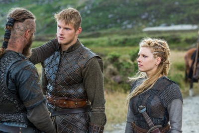 Ragnar (Travis Fimmel), Bjorn (Alexander Ludwig) and Lagertha (Katheryn Winnick) reunite.