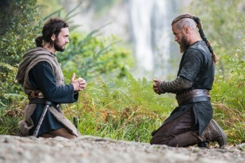 Athelstan (George Blagden) and Ragnar (Travis Fimmel) overflow with mutual respect for on another