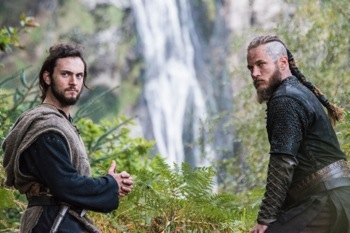 Athelstan (George Blagden) and Ragnar (Travis Fimmel)
