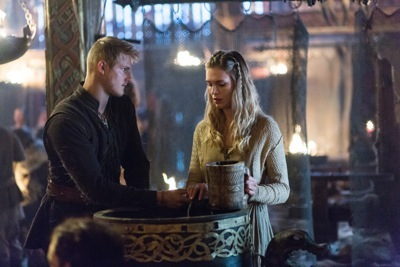 Bjorn (Alexander Ludwig) falls for a slave girl Porunn (Gaia Weiss)